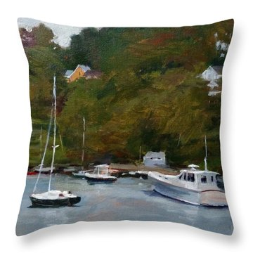 Overcast Day At Rockport Harbor Throw Pillow