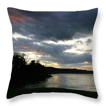 Throw Pillow featuring the photograph Overcast Morning Along The River by Skyler Tipton