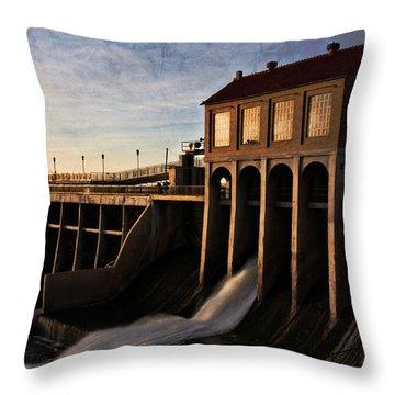 Overholser Dam Throw Pillow by Lana Trussell