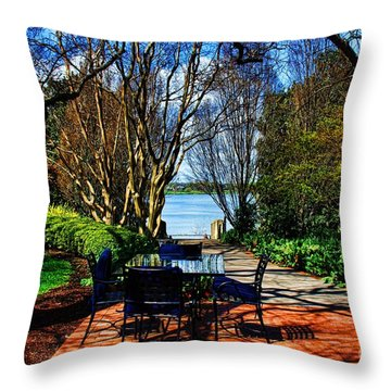 Overlook Cafe Throw Pillow by Diana Mary Sharpton