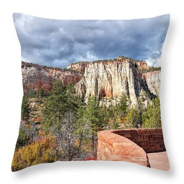 Throw Pillow featuring the photograph Overlook In Zion National Park Upper Plateau by John M Bailey
