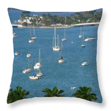 Overlooking A Miami Marina Throw Pillow by Margaret Bobb