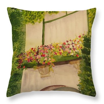 Throw Pillow featuring the painting Overlooking Butchard Gardens  by Vicki  Housel