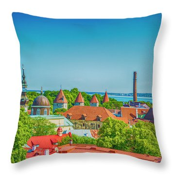 Overlooking Tallinn Throw Pillow