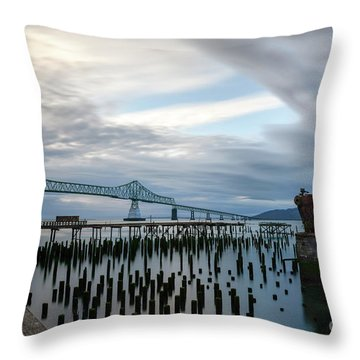 Overlooking The Bridge Throw Pillow