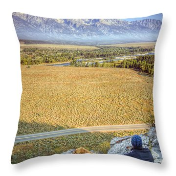Overlooking The Grand Tetons Jackson Hole Throw Pillow