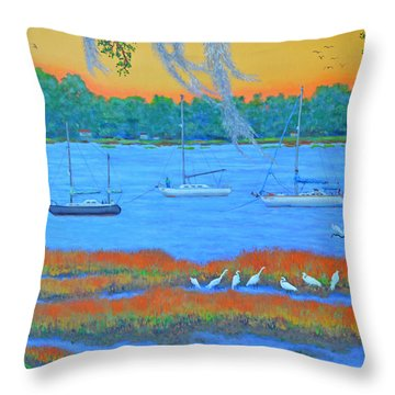 Overnight In Beaufort Throw Pillow by Dwain Ray