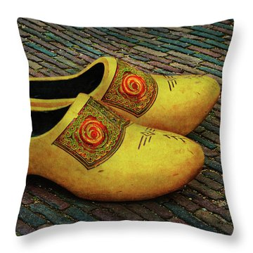 Throw Pillow featuring the photograph Oversized Dutch Clogs by Hanny Heim