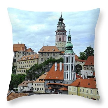 Overview Of Cesky Krumlov Throw Pillow by Kirsten Giving