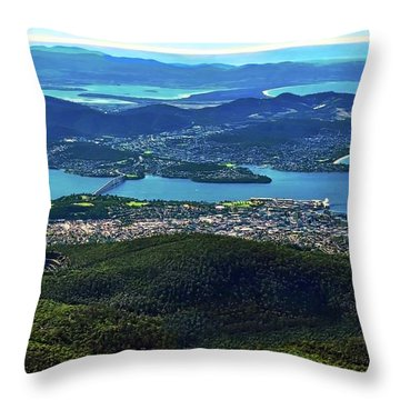 Overview Of Hobart Tasmania Throw Pillow
