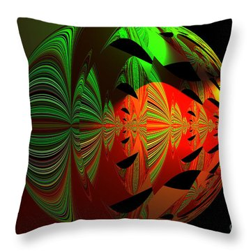 Art Green, Red, Black Throw Pillow