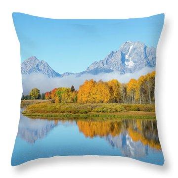 Oxbow Bend Pano In Autumn Throw Pillow