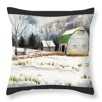 Owen County Winter Throw Pillow by Katherine Miller