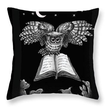 Owl And Friends Blackwhite Throw Pillow