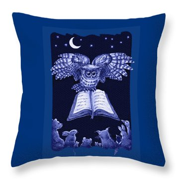 Owl And Friends Indigo Blue Throw Pillow
