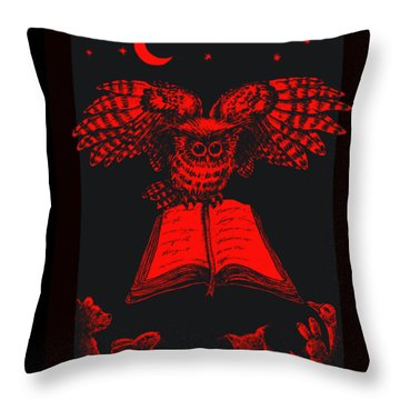 Owl And Friends Redblack Throw Pillow