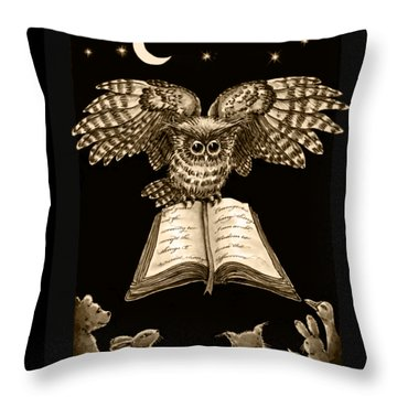 Owl And Friends Sepia Throw Pillow