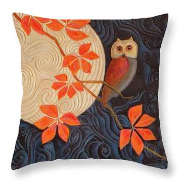 Throw Pillow featuring the painting Owl And Moon On A Quilt by Nancy Lee Moran
