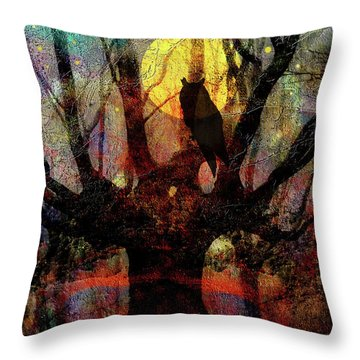 Owl And Willow Tree Throw Pillow by Mimulux patricia no No