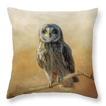 Throw Pillow featuring the photograph Owl  by Angie Vogel