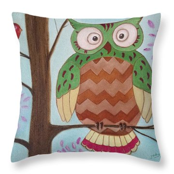 Owl Art Throw Pillow