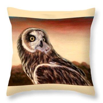 Owl At Sunset Throw Pillow
