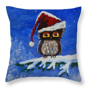 Owl Be Home For Christmas Throw Pillow