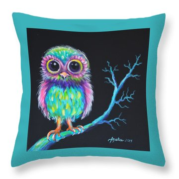 Throw Pillow featuring the painting Owl Be Your Girlfriend by Agata Lindquist