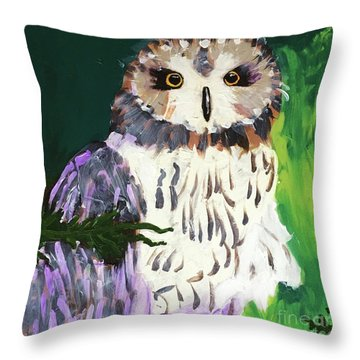 Owl Behind A Tree Throw Pillow