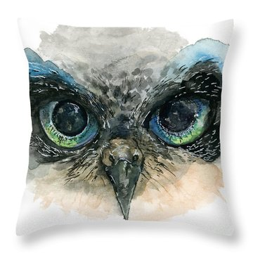Throw Pillow featuring the painting Owl Eyes by Lauren Heller