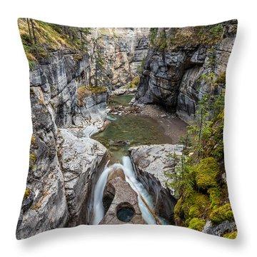 Owl Face Falls Of Maligne Canyon Throw Pillow