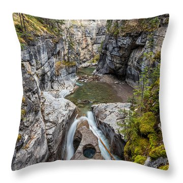 Owl Face Falls Of Maligne Canyon Throw Pillow