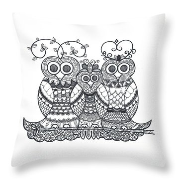 Throw Pillow featuring the drawing Owl Family by Caroline Sainis