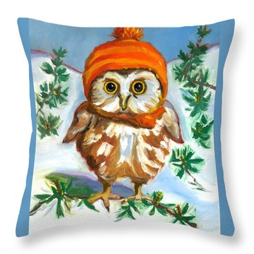 Throw Pillow featuring the painting Owl In Orange Hat by Susan Thomas