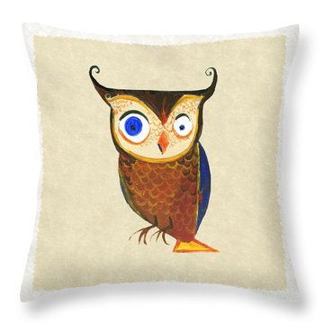Owl Throw Pillow by Kristina Vardazaryan