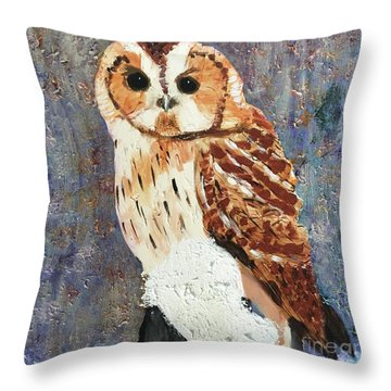 Owl On Snow Throw Pillow