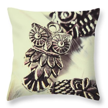 Owl Pendants. Charms Of Wisdom Throw Pillow