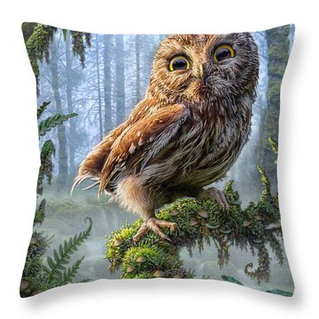 Owl Perch Throw Pillow