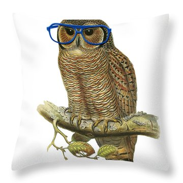 Owl Sitting On A Branch With Blue Glasses Throw Pillow