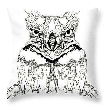 Owl Sketch 1 Throw Pillow