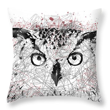 Owl Sketch Pen Portrait Throw Pillow