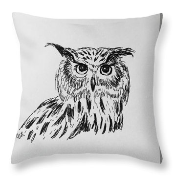 Throw Pillow featuring the drawing Owl Study 2 by Victoria Lakes