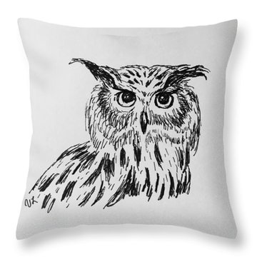 Owl Study 2 Throw Pillow by Victoria Lakes