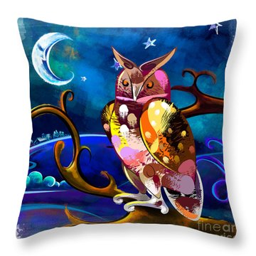 Owl Watching The Moon Throw Pillow