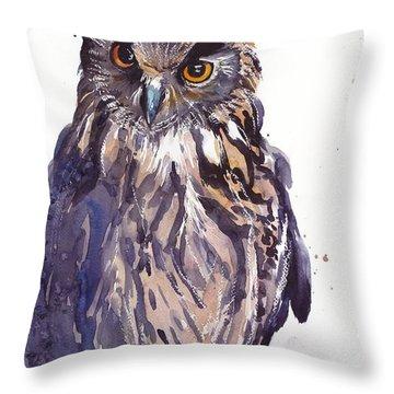 Owl Watercolor Throw Pillow