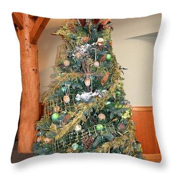 Owl Xmas Tree Throw Pillow