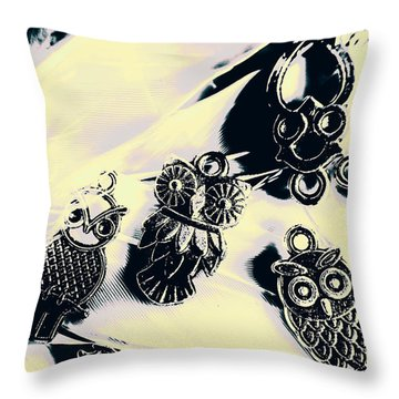Owls From Blue Yonder Throw Pillow