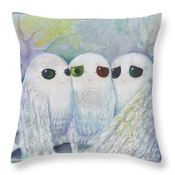 Owls From Dream Throw Pillow
