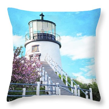 Owl's Head Light In Early June Throw Pillow