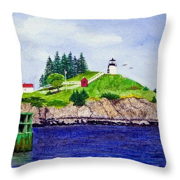 Owls Head Lighthouse Throw Pillow